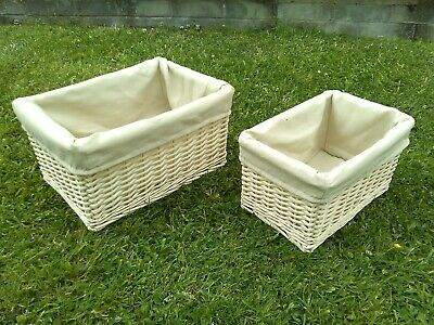 £19.99 • Buy Natural Wicker Cream Oblong Storage Baskets Set Of 2 With Beige Linen Liners