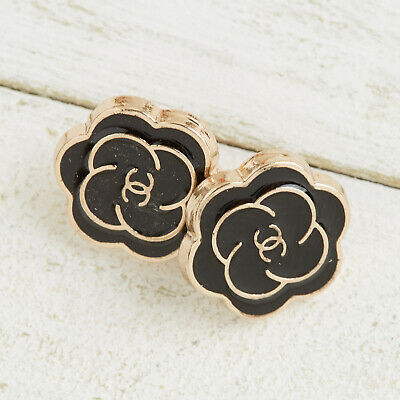 £18.18 • Buy Chanel Buttons 2pc CC Black & Gold Flower 12.5mm 2 Buttons Unstamped AUTH!!!