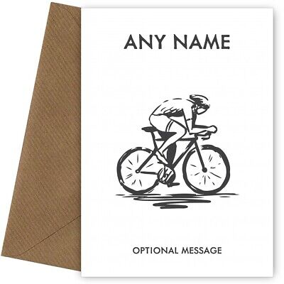 £2.99 • Buy Personalised Race Cycling Birthday Card For Him Dad Son Uncle Brother - SKETCH
