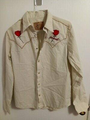 $22 • Buy Hause Of Howe Western Pearl Snap Up Embroidered Long Sleeve Shirt Mens Size Med!