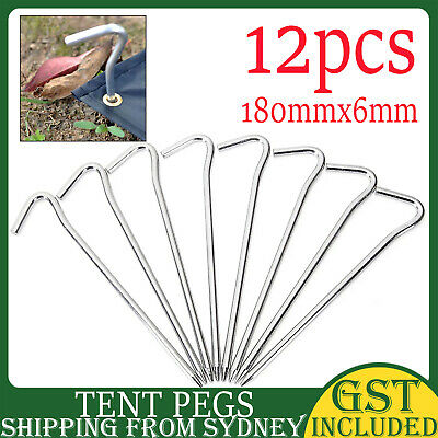 AU8.99 • Buy 12pcs Camping Tent Pegs Hook Outdoor Camping Trip Ground Durable Nail Stakes AU