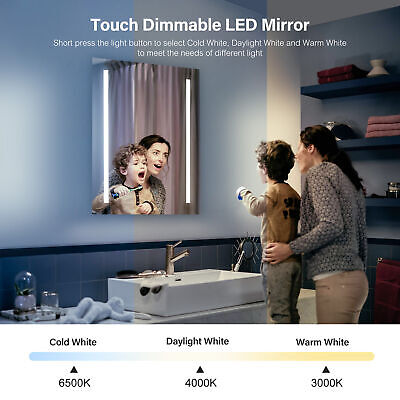 £79.60 • Buy Bathroom Mirror With Shaver Socket Demister LED Light Touch Control Switch NEW