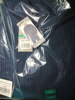 $21.80 • Buy Mens Sweater Eddie Bauer Fit Button Mock Neck Sweater Medieval Navy Blue Large