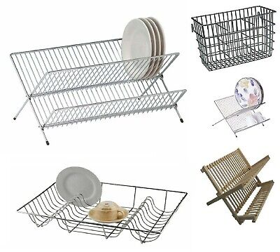 £7.90 • Buy Chrome & Wooden Cutlery Folding Dish Drainers Plate Racks Holder Dryer Kitchen