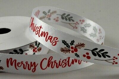 £1.55 • Buy White Satin Ribbon Christmas Hollies & Berries Design 15mm X 1M From Roll 55115