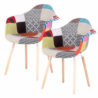 £99 • Buy 2Pcs Patchwork TUB Fabric Armchair Dining Lounge Chair Seat Vintage Retro Style