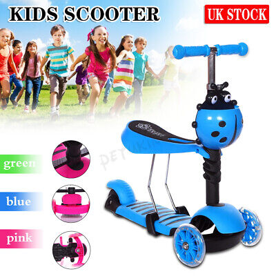 £18.99 • Buy 3in1 LED Flashing Kids Scooter Toddler Child Toddler Adjustable 3 Wheel Scooters