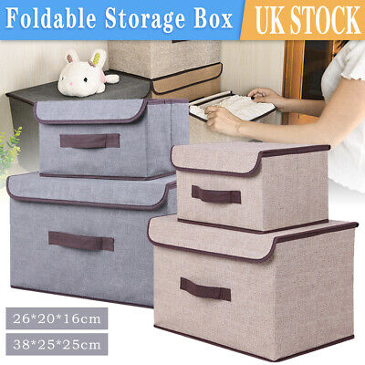 £6.99 • Buy Large & Small Foldable Canvas Storage Folding Fabric Clothes Basket With Lid Box