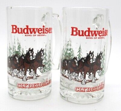 $ CDN24.87 • Buy Budweiser King Of Beers Clydesdale Horses W/ Wagon 1989 Christmas Mugs Set Of 2