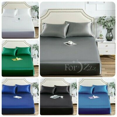 AU24.99 • Buy 1800TC Silky Satin 3PCS Fitted/Bottom Sheet Set Single/KS/Double/Queen/SuperKing