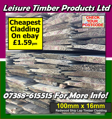 £262.35 • Buy 100mm X 16mm Shiplap Timber Cladding 55 Boards 3m See Postcodes Tanalised