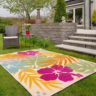 £14.95 • Buy Large Tropical Outdoor Rugs Colourful Floral Modern Bright Hose Clean Patio Mat