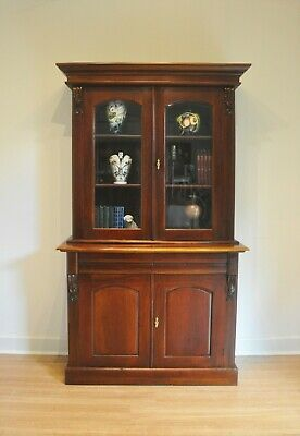 AU440 • Buy Rustic Antique Style Mahogany Library Bookcase Glass Top Display Cabinet