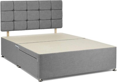 £179.14 • Buy Milano Suede Grey-divan Bed Base - Drawer Storage- Small Double King - Headboard