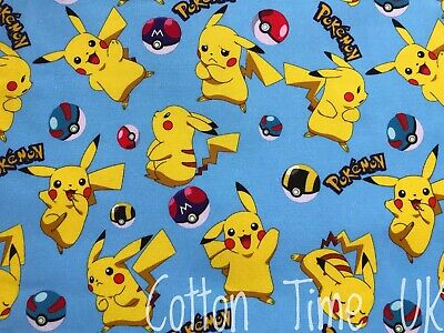 £4.50 • Buy Pokemon Character Pikachu With Poke Great/ Ultra Balls On Blue Cotton Fabric FQ
