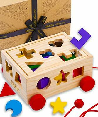 £22.99 • Buy Pull Along Wooden Shape Sorter   Wooden Toys For 3 Year Old