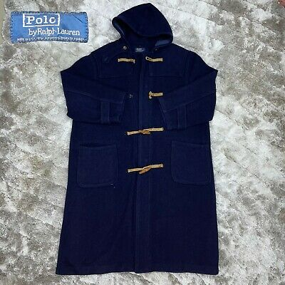 $165 • Buy Vintage 80's POLO Ralph Lauren Navy Blue Loden Duffle Toggle Wool Hooded Coat XL