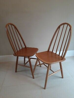 £110 • Buy Pair Of Vintage Spindle Back Scandinavian Dining Chairs