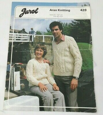 £1 • Buy Vintage Jarol Aran Family Sweaters Knitting Pattern Size 24  - 42  Inches