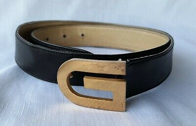 AU100 • Buy Gucci Authentic Vintage Black Leather Belt Gold Buckle Size 75 30 Made In Italy