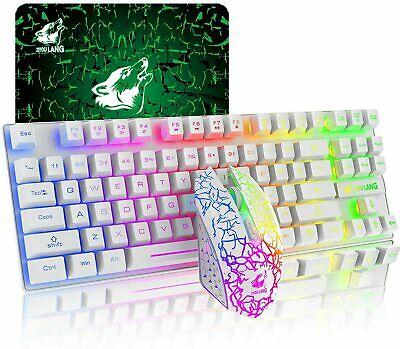 AU52.63 • Buy Wireless Gaming Keyboard And Mouse 87 Keys Rainbow Backlit For PC Laptop MAC PS4