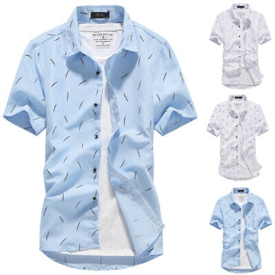 £8.79 • Buy Mens Short Sleeve Button Down Shirts Summer Casual T-Shirt Loose Blouse Tee Tops