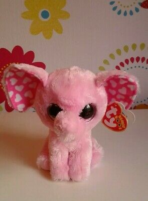 £9.99 • Buy Rare Ty Beanie Boo Boos SUGAR Pink Elephant White Hearts Soft Toy - W/TAGS!!