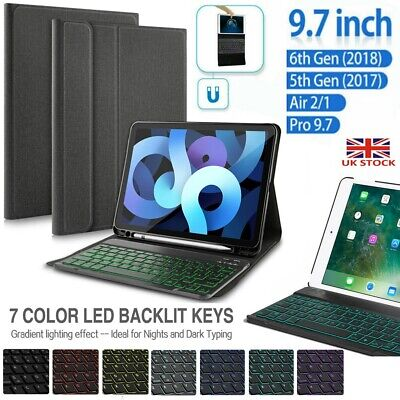 £23.65 • Buy For Apple IPad 2017/2018/Air 1 2 Wireless Backlit Keyboard+ Leather Case Cover