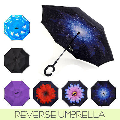 AU18.89 • Buy C-Handle Inverted Reverse Umbrella Upside Down Double Layer Inside-Out Windproof