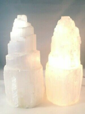 £15.50 • Buy Selenite Crystal Lamp Ice Mountain A Grade 15cm LED Cable + Bulb Soothing