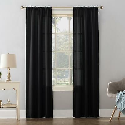 $18.99 • Buy Mainstays Textured Solid Curtain Single Panel 38 X 84- Black