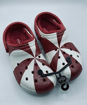 $125 • Buy Crocs Lined Holiday Clog Candy Red White Limited Womens 9 Mens 7 EUR 39-40 NEW