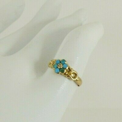 £295 • Buy 18ct Gold Turquoise & Diamond Ring Forget Me Not Antique Georgian Size H