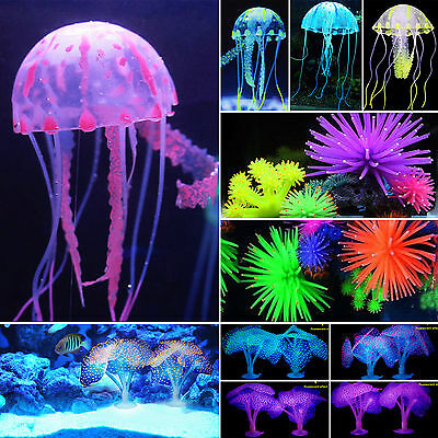 £2.79 • Buy Glowing Aquarium Fish Tank Water Grass Floating Jelly Fish Coral Decors Ornament