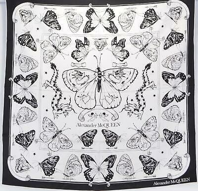 AU275.15 • Buy New Alexander McQueen 609786 INKED BUTTERFLY Tattoo Theme Large Silk Scarf