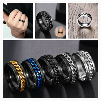 $9.99 • Buy Men's Spinner Ring Stainless Steel Curb Chain Wedding Band Punk Personality Ring