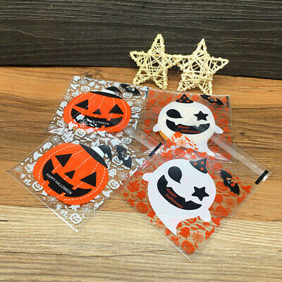 £2.99 • Buy 50Pcs Self Adhesive Plastic Cookie Bag Candy Gift Packaging Bags Halloween Decor