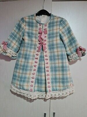 £9 • Buy Girls Dolce Petit Spanish Blue Cream Pink Bow Checked Dress Age 3 4