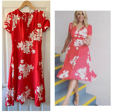 AU42.02 • Buy Marks And Spencer M&s Alexa Chung Red Floral Tea Dress Uk 8 Holly Willoughby
