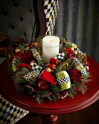 $324.99 • Buy MacKenzie-Childs Yuletide Manor Candle Centerpiece-w/ Chartreuse Check Candle