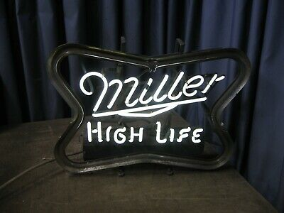 $195 • Buy Vintage Miller High Life Neon Sign Bar Beer Rare Style 19 Lbs To Restore As Is