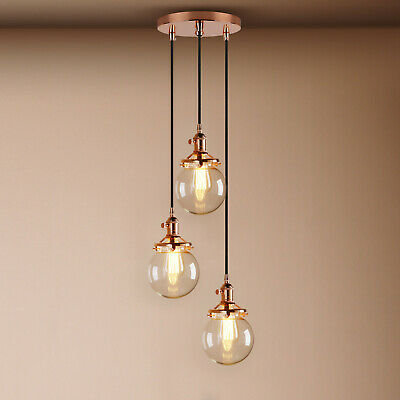 £99.90 • Buy Cluster 3 Retro Industrial Pendant Ceiling Light Globe Clear Glass Lamp Shades
