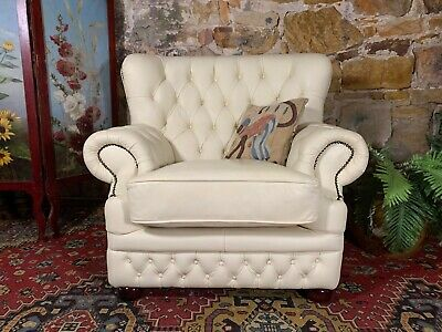 AU450 • Buy Stunning Vintage Chesterfield Leather Wingback Armchair-Chair~Cream Sofa Lounge