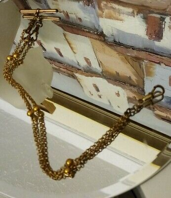 £45 • Buy Antique Rose Rolled Gold Belcher And Ball Link Albert Pocket Watch Chain 9 Inch