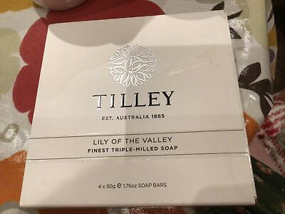 £4.50 • Buy TILLEY AUSTRALIA LILY OF THE VALLEY FINEST TRIPLE MILLED SOAPS 4 X 50 G New