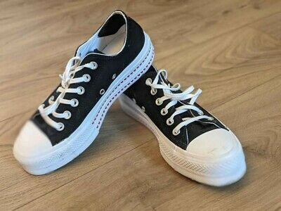 £60 • Buy Platform Converses In Black, With Hearts Details On Sole And Back - Size 5