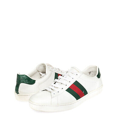 AU127.06 • Buy RRP €540 GUCCI Leather Sneakers EU 42.5 UK 8.5 US 9 Web Detail Made In Italy
