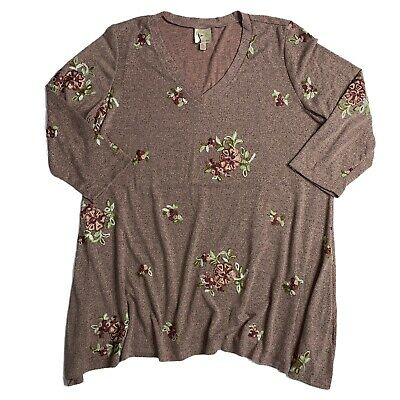 $ CDN29.91 • Buy Fig & Flower Anthropologie Size 2XL Floral Embroidered Sweater Boho Hippie