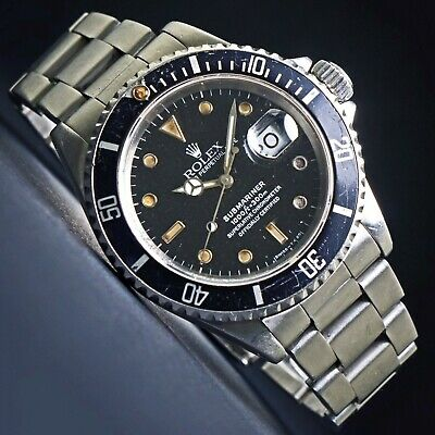 AU11142.06 • Buy 1985 Rolex 16610 Submariner Stainless Steel Watch All Original Tropical Dial NR!