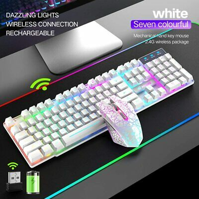 AU49.40 • Buy AU Rainbow LED Backlit Wireless Gaming Keyboard And Mouse Set For Game Or Office